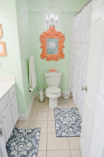 Mint & Coral Bathroom. Describes how projects were made and lists where to buy everything.