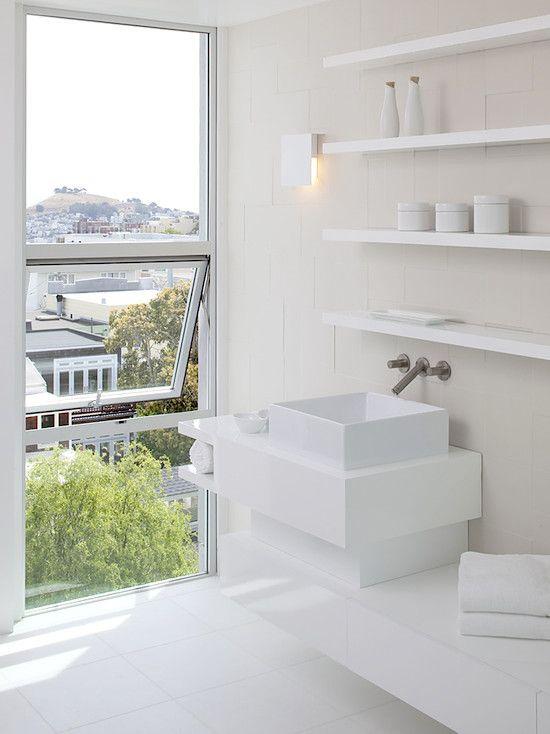 #Contemporary white #bathroom #design