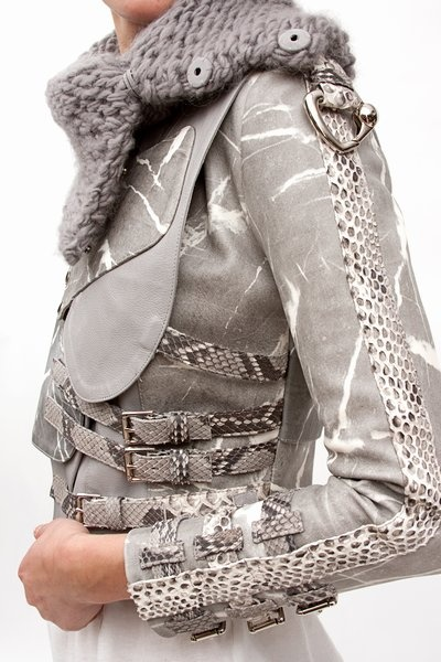 Hand-marbled leather jacket by Rodarte