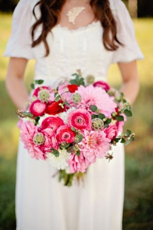 pink + red summer bouquet