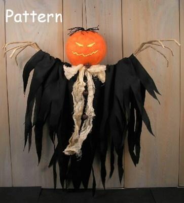 PATTERN Primitive Raggedy Pumpkin Spirit Halloween Cloth Doll Folk Art Craft #45