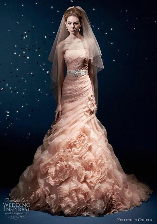 kittychen couture 2012 blush wedding gown.