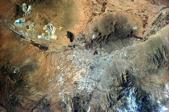 Tucson, Arizona.  Photo taken by crew aboard the International Space Station.  Chris Hadfield, Twitter