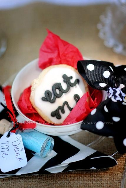 Cute cookies at an Alice in Wonderland party!  See more party ideas at CatchMyParty.com!  #aliceinwonderland #partyideas