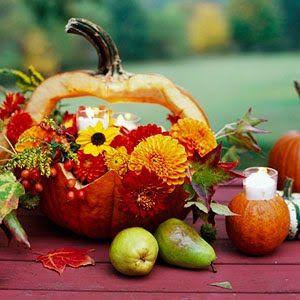 Amazing pumpkin vase flower arrangement