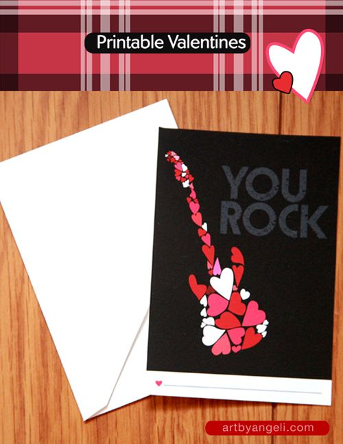 Free Printable You Rock Valentines Day Card