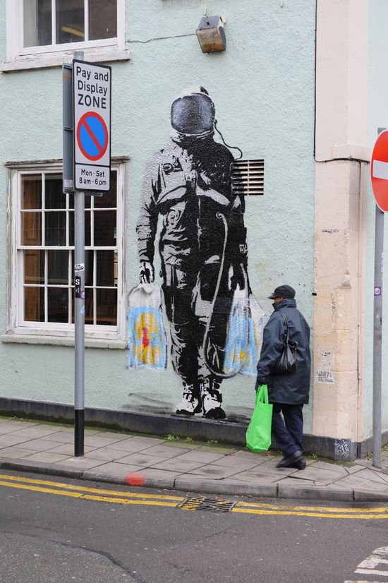 Bristol street art...  Banksy, of course