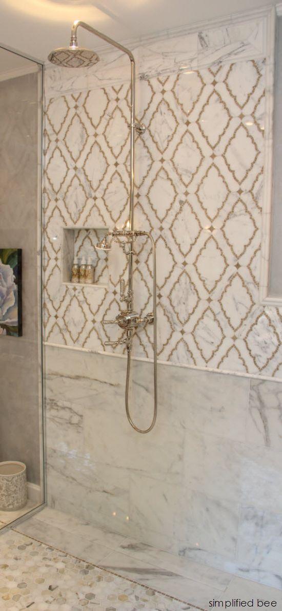 marble mosaic shower  MJM Interior Design