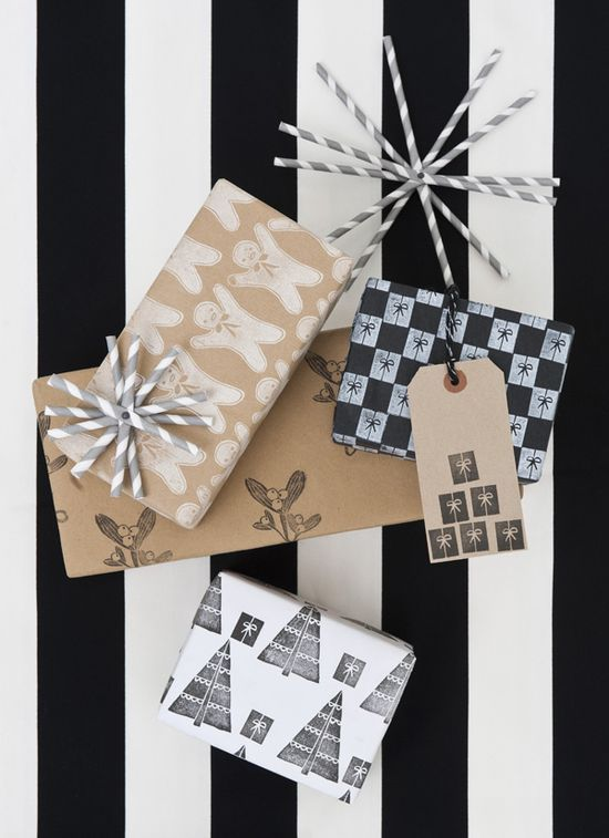 DIY Hand Stamped Wrapping Paper Idea....