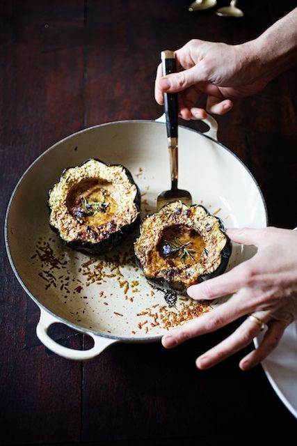 Roasted Winter Squash with Porcini and Cream