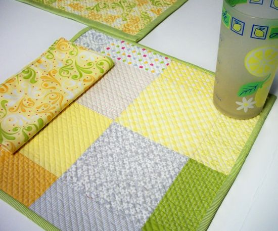 Sunkissed Placemats Napkins Handmade Quilted by atthebrightspot