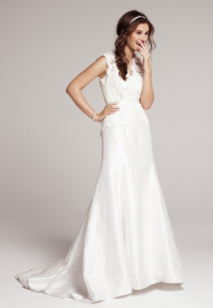 Heidi Elnora 'Coco Marie' gown with 'Katie Grace' lace cover up #Nordstromweddings.