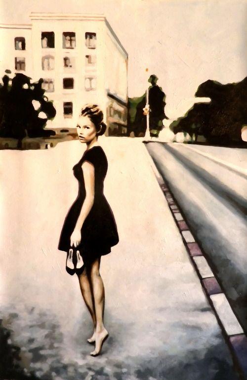 "Saatchi Online Artist: thomas saliot; Oil, Painting ""Barefeet black dress"""