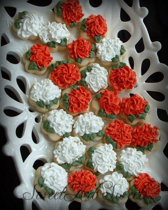 Mini Rose cookies - 2 dozen - flower cookies