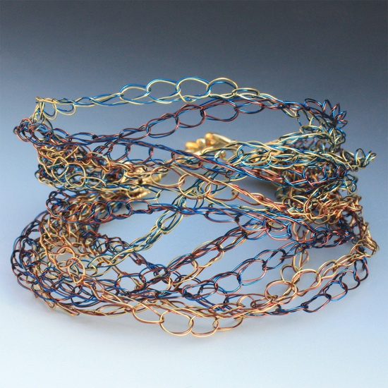 Crocheted Wire Bracelet In Blue Gold And Brown by alionakjewelry