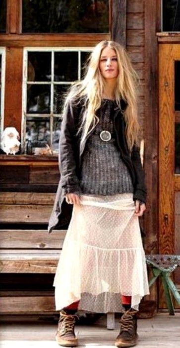 skirt / boots