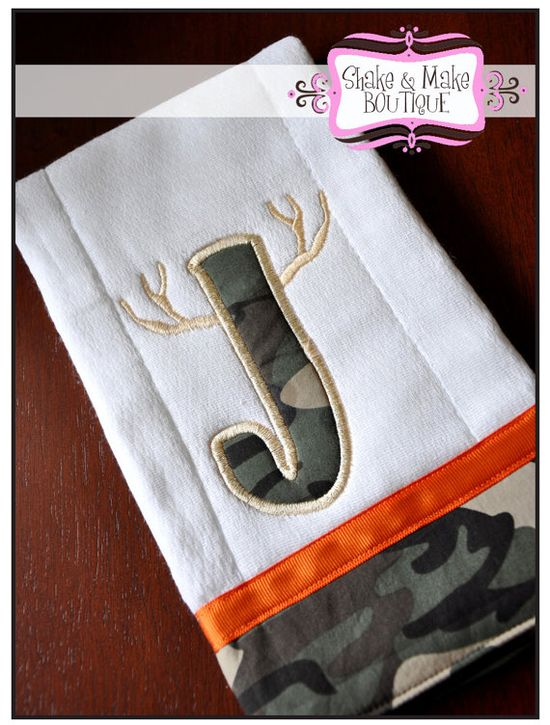 CAMO  Personalized BURP CLOTH Deer Hunter  Great by ShakeandMake, $9.99