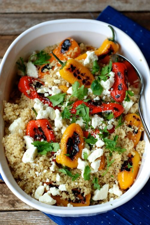Whole grain healthy side dish with quinoa and roasted mini peppers.