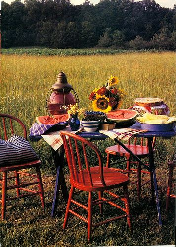 great summer setting for a picnic