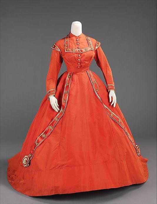 Dress, Afternoon  Date: ca. 1865 Culture: American Medium: silk, metal