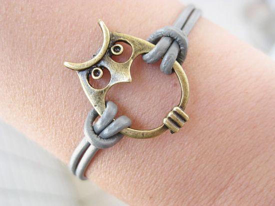 Gray Leather Bronze Owl Bracelet B0452 by mooli on Etsy