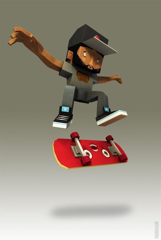3D Skateboard Guy #3D #cartoon #3d char