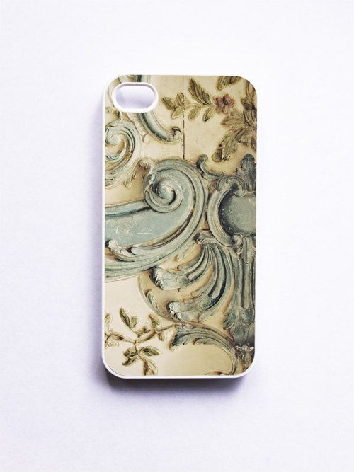 iPhone 4 Case Blue Lace Fits iPhone 4S White Case by happeemonkee