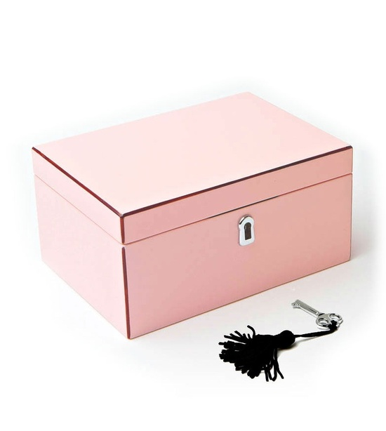 Fashion Jewelry Boxes, in High Gloss Powder Pink Lacquer, sharing luxury designer home decor inspirations and ideas for beautiful living rooms, dinning rooms, bedrooms & bathrooms inc furniture, chandeliers, table lamps, mirrors, art, vases, trays, pillows, accessories & gift courtesy of InStyle Decor Beverly Hills enjoy & happy pinning
