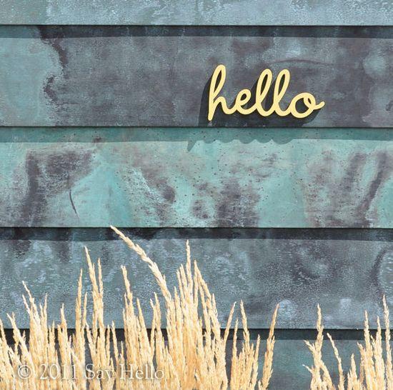 Little Hello Wall Sign. $7.00, via Etsy  entryway