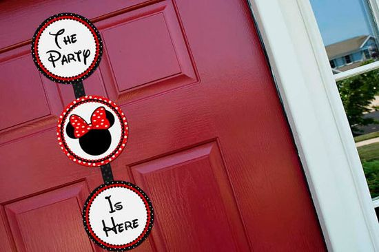 Welcome Sign Door Hanger Girl - Minnie Mouse Birthday Party Line