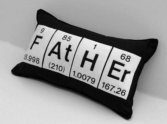 Father Black Cotton Chemistry Periodic Table Element Pillow          www.etsy.com/...