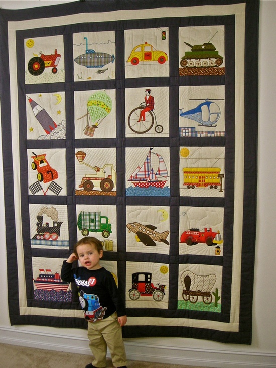 ~ Transportation Quilt Complete Set. Love the idea of this quilt, but I'd have to tweak the design of the cars and such to make it a bit more modern.
