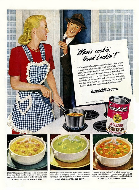 Charmingly sweet, domestically centered 1940s ad for Campbell's soup (how cute is her gingham apron?). #ads #forties #soup #Campbells #1940s #food #vintage