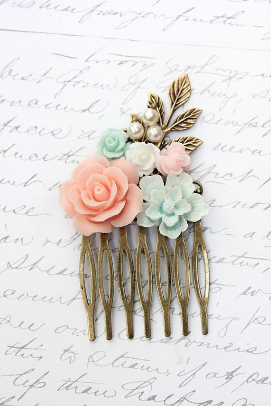Floral Hair Comb Wedding Flower Collage Coral by apocketofposies