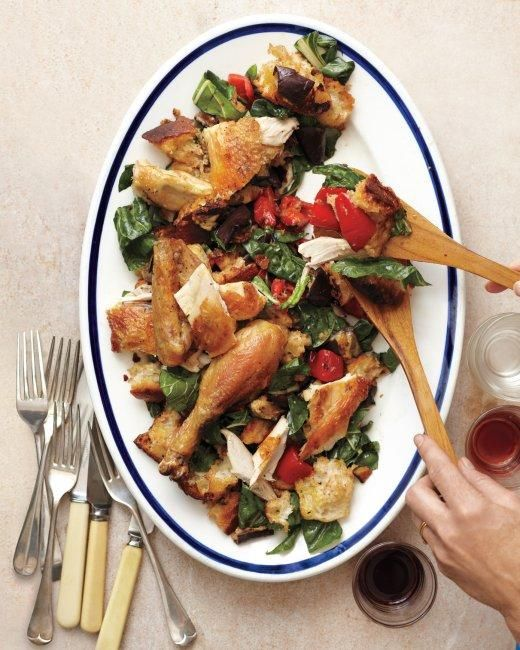 Roast Chicken with Broiled-Vegetable-and-Bread Salad Recipe