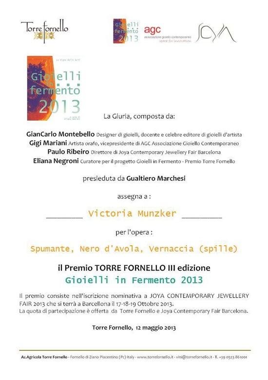 Viktoria Münzker - Gioielli in fermento 2013 - Premio Torre Fornello IIIedizione