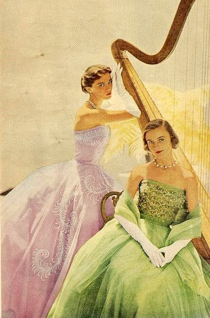 #green #purple #harp #vintage #1950s #elegant #eveningdress #fifties #clothes #style #fashion