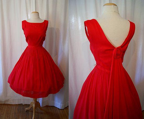 1950's Bright Red Silk Chiffon Dress