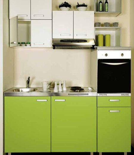 Modern Green Colours Small Kitchen Interior Design Ideas - Kitchen