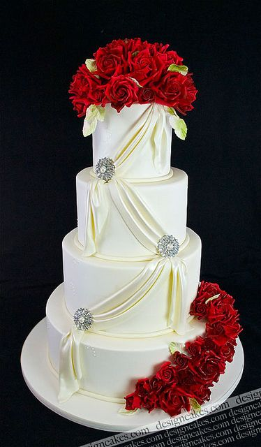 Deep red roses wedding cake by Design Cakes, via Flickr