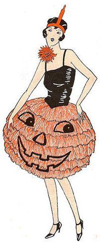 vintage halloween illustrations, pumpkin, orange, black
