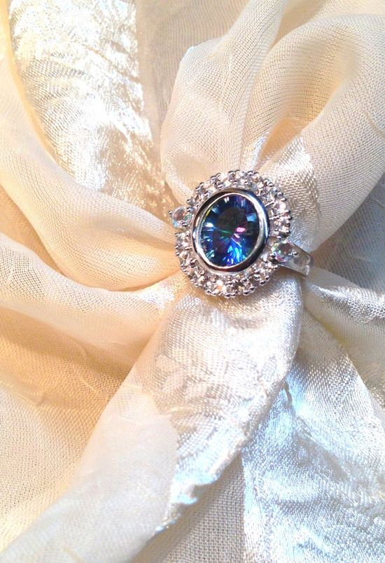 Flower Petalite Ring With White Topaz in by NorthCoastCottage, $189.00
