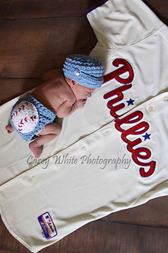 Baby boy baseball hat and diaper cover by LandyKnits on Etsy, $40.00