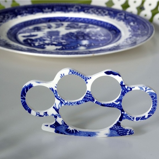 In Case of Emergency Break China - China Brass Knuckles - Blue WIllow