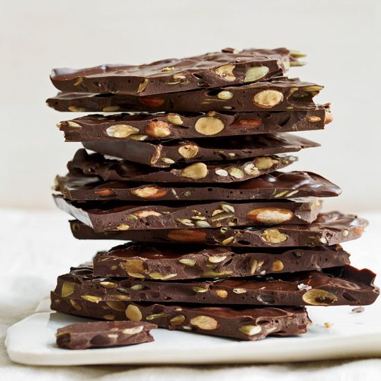 Dark Chocolate Bark with Roasted Almonds and Seeds // More Recipes with Almonds: www.foodandwine.c... #foodandwine