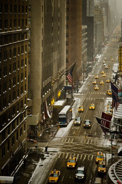 NYC, Snow by Sunset Noir