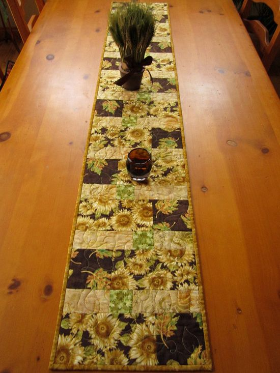 Handmade Quilted Sunflowers Table Runner
