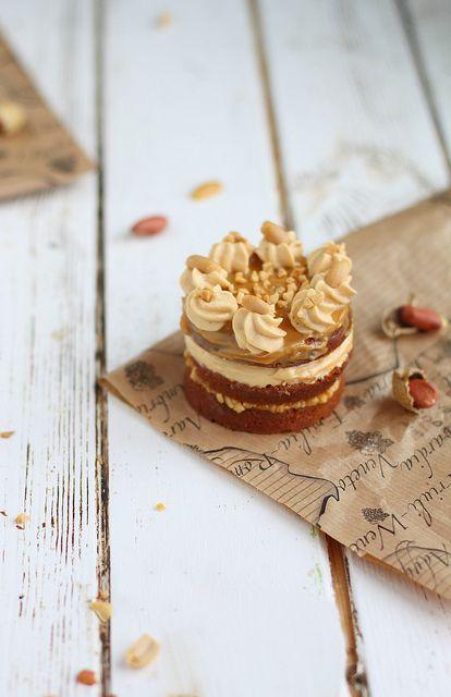 Marvelously yummy sounding Caramel Fudge Peanut Mini Cakes. #food #cooking #baking #dessert #cake #peanuts #caramel