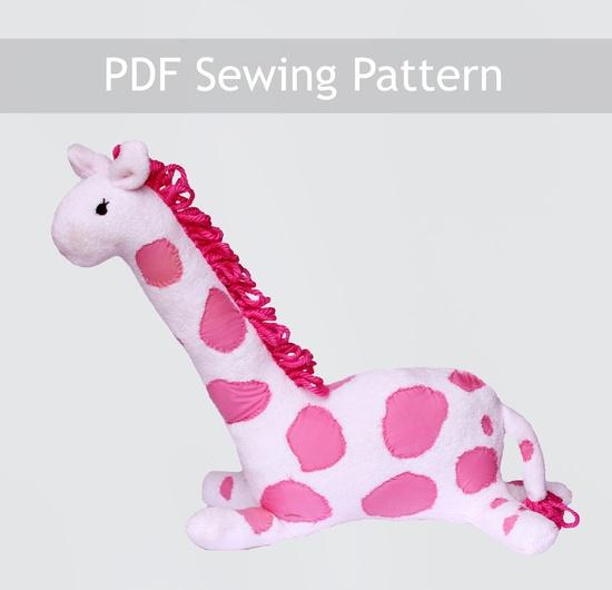 """20"""" Tall Hot Pink Giraffe Stuffed Animal Sewing Pattern!"""