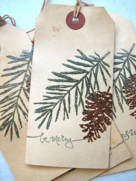 Embossed Sparkle - Christmas Gift Tag, Pine Tree Pine Cone Woodland Gift Tag. $4.25, (4 tags) via Etsy.